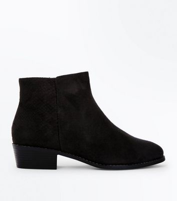 Wide Fit Black Suedette Snake Texture Panel Boots