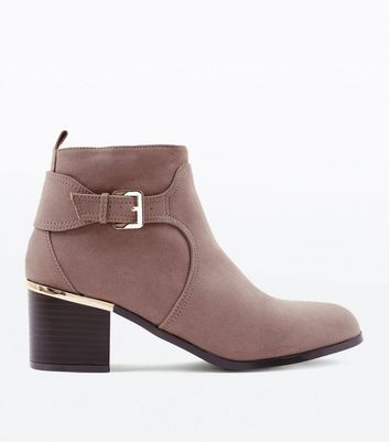 Wide Fit Mink Comfort Suedette Buckle Side Boots