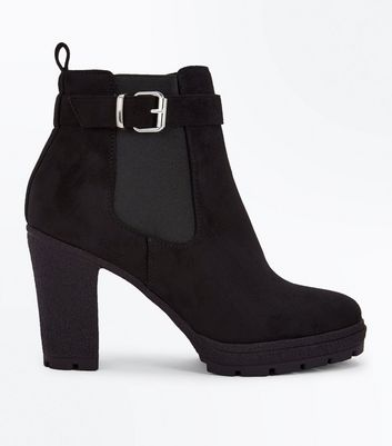 Wide Fit Black Suedette Buckle Side Heeled Boots