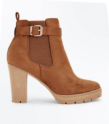 Wide Fit Tan Suedette Buckle Side Heeled Boots