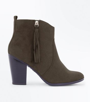 Wide Fit Khaki Suedette Tassel Zip Heeled Boots