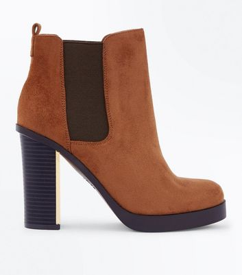 Wide Fit Tan Suedette Metal Heel Chelsea Boots