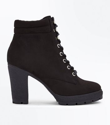 Wide Fit Black Suedette Heeled Lace Up Boots