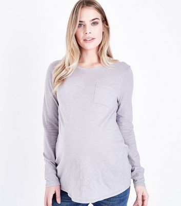 Maternity Grey Organic Cotton Long Sleeve Top