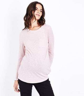 Maternity Pink Organic Cotton Long Sleeve Top