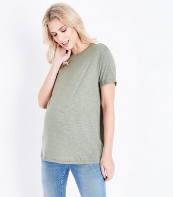 Maternity Olive Green Organic Cotton Short Sleeve T-Shirt