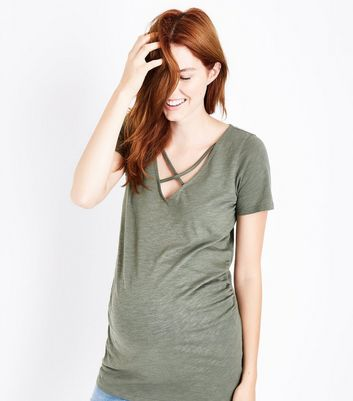 Maternity Olive Green Lattice Neck Short Sleeve T-Shirt
