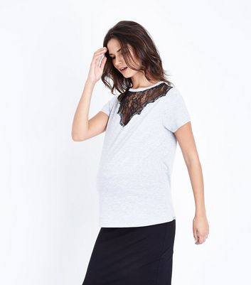 Maternity Grey Lace Yoke T-Shirt