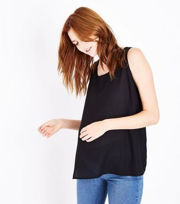 Maternity Black Sleeveless Zip Back Top