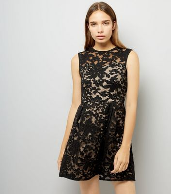 Mela Black Floral Flocked Print Dress
