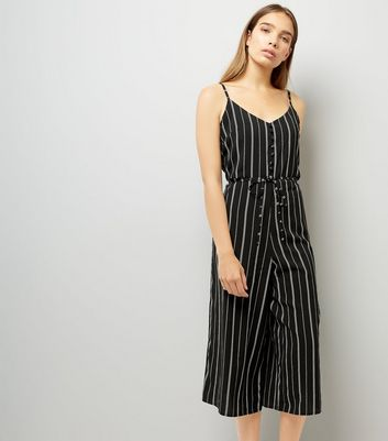 Cameo Rose Black Stripe Culotte Jumpsuit