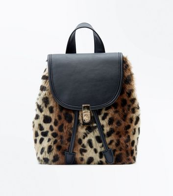 Brown Leopard Print Faux Fur Mini Backpack