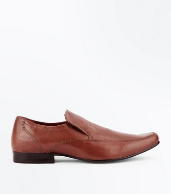 Tan Leather Slip-On Formal Shoes