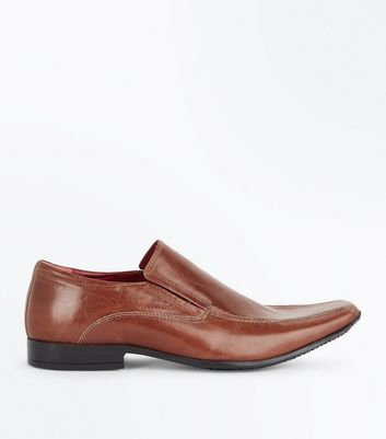 Tan Leather Formal Slip On Shoes
