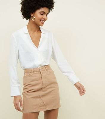 Camel Denim Mini Skirt