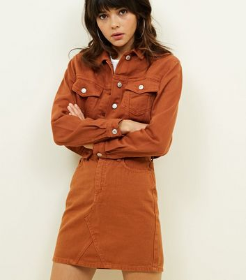 Rust Denim Mini Skirt