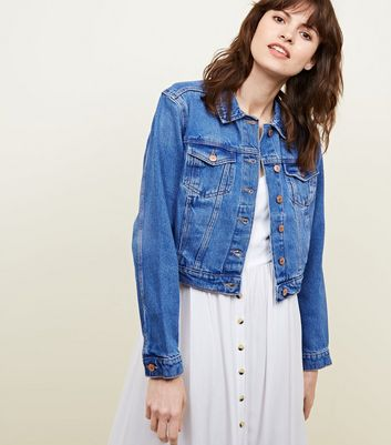 Bright Blue Cropped Denim Jacket by New Look