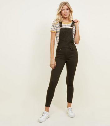 Khaki Slim Leg Denim Dungarees by New Look