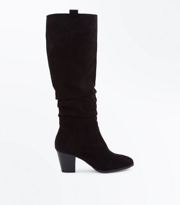 Black Suedette Western Knee High Boots