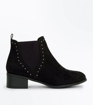 Teens Black Suedette Studded Trim Chelsea Boots