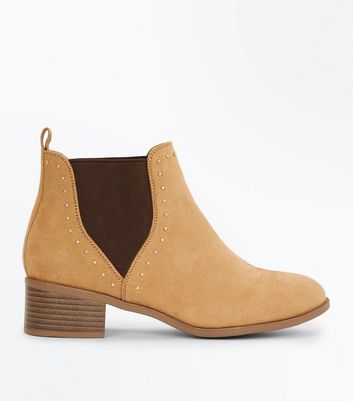Teens Mink Suedette Studded Trim Chelsea Boots