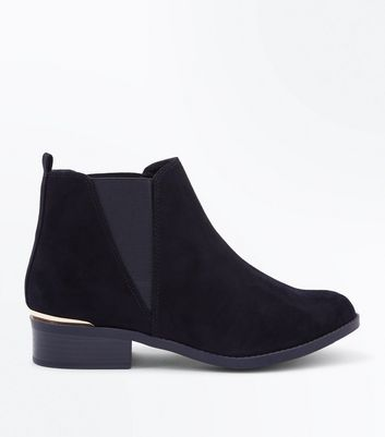 Teens Black Suedette Metal Trim Ankle Boots