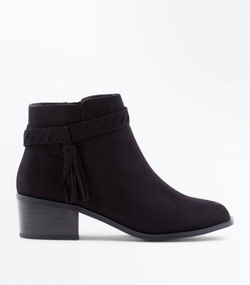 Teens Black Suedette Tassel Ankle Boots