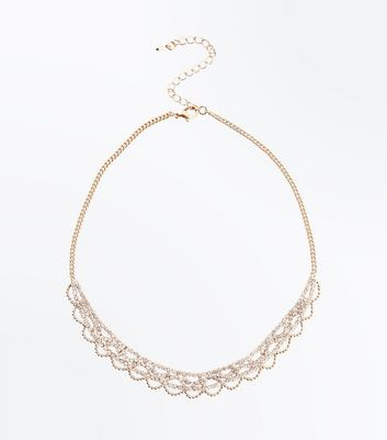 Gold Diamante Ball and Chain Necklace