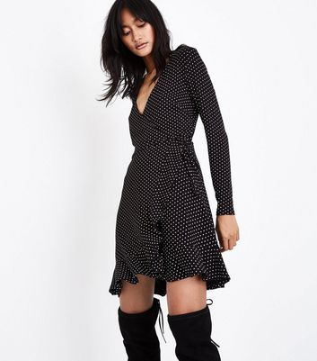 Black Spot Print Wrap Front Jersey Dress
