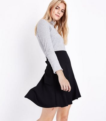 Black Asymmetric Stretch Mini Skirt
