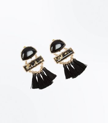Black Panel Tassel Drop Earrings