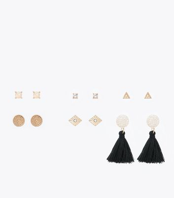 6 Pack Black And Gold Tassel Stud Earrings