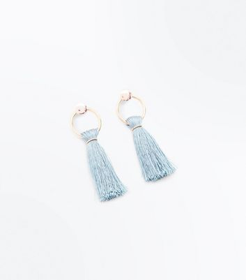 Teal Tassel Twist Hoop Earrings
