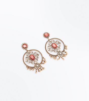 Red Gem Filigree Chandelier Earrings