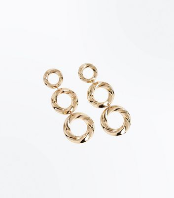 Gold Twisted Ring Tiered Drop Earrings