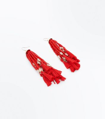 Red Beaded Tassel Drop Earrings