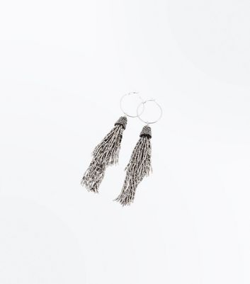 Silver Beaded Tassel Drop Earrings