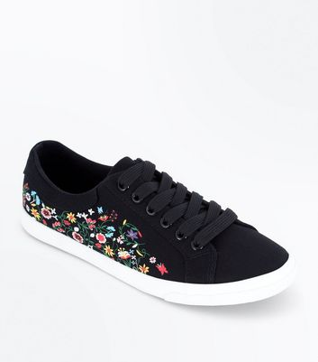 Black Floral Print Lace Up Trainers