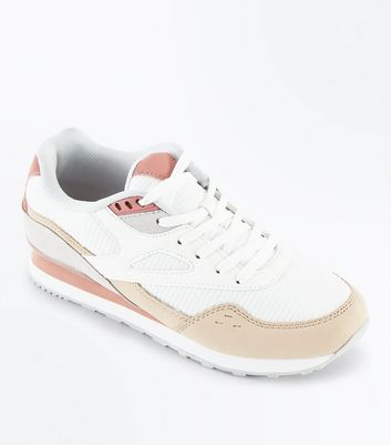White Colour Block Chunky Trainers