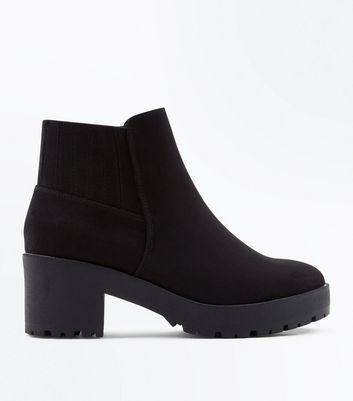 Teens Black Suedette Chunky Heeled Boots