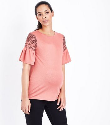 Maternity Rust Contrast Shirred Sleeve T-Shirt