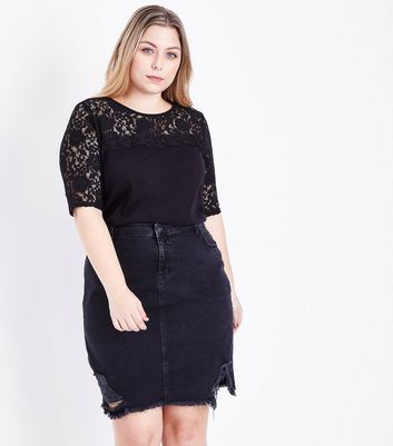 Curves Black Lace Yoke and Sleeve T-Shirt