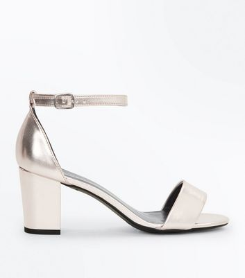 Teens Rose Gold Metallic Block Heel Sandals
