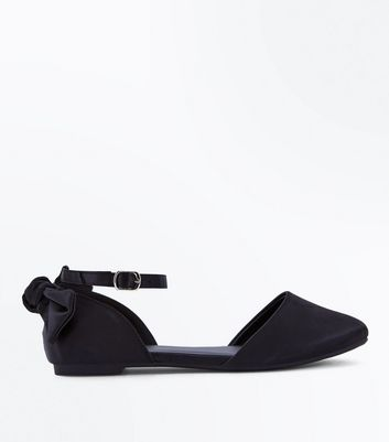 Teens Black Satin Bow Back Pumps