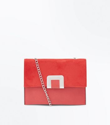Red Foldover Chain Shoulder Bag