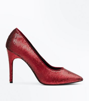 Wide Fit Red Sequin Pointed Court Shoes