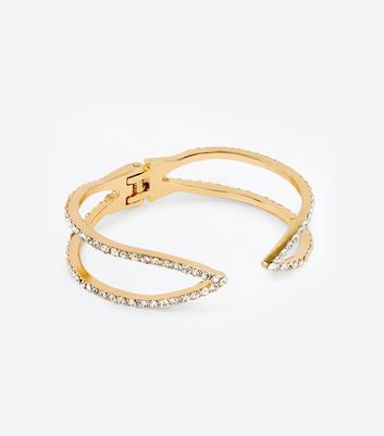 Gold Diamante Open Cuff Bangle