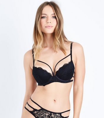 Black Strappy Longline Lace Bra