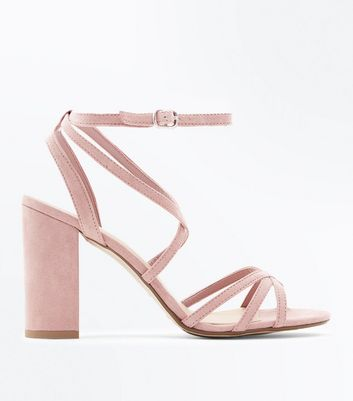Wide Fit Pink Suedette Strappy Block Heels