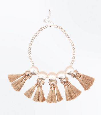 Rose Gold Embellished Metallic Tassel Necklace